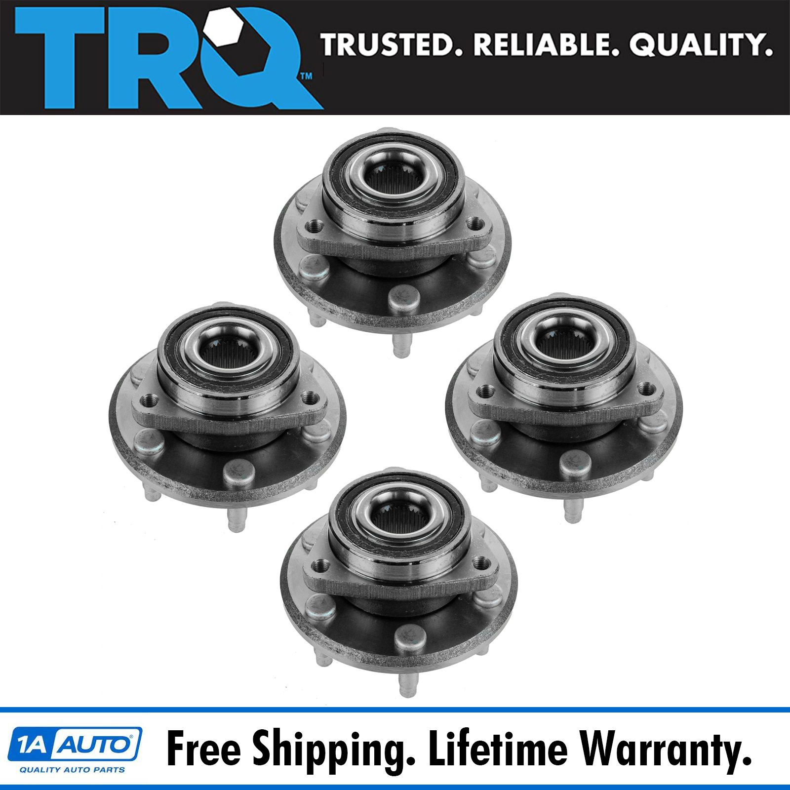 TRQ 4 Piece Kit Wheel Bearing Hub Assembly Front /& Rear Set for Acadia Enclave
