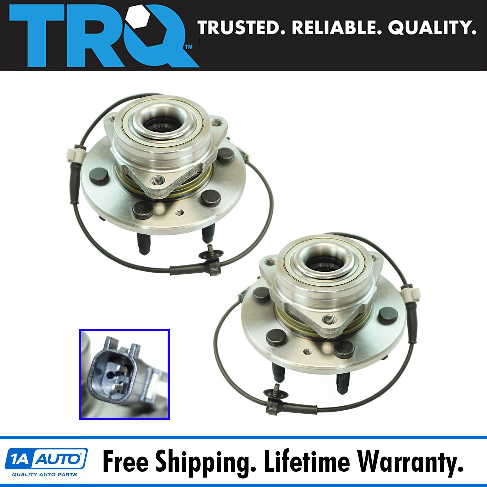 TRQ Front Wheel Bearing & Hub Assembly Pair Set of 2 for Cadillac Chevy GMC