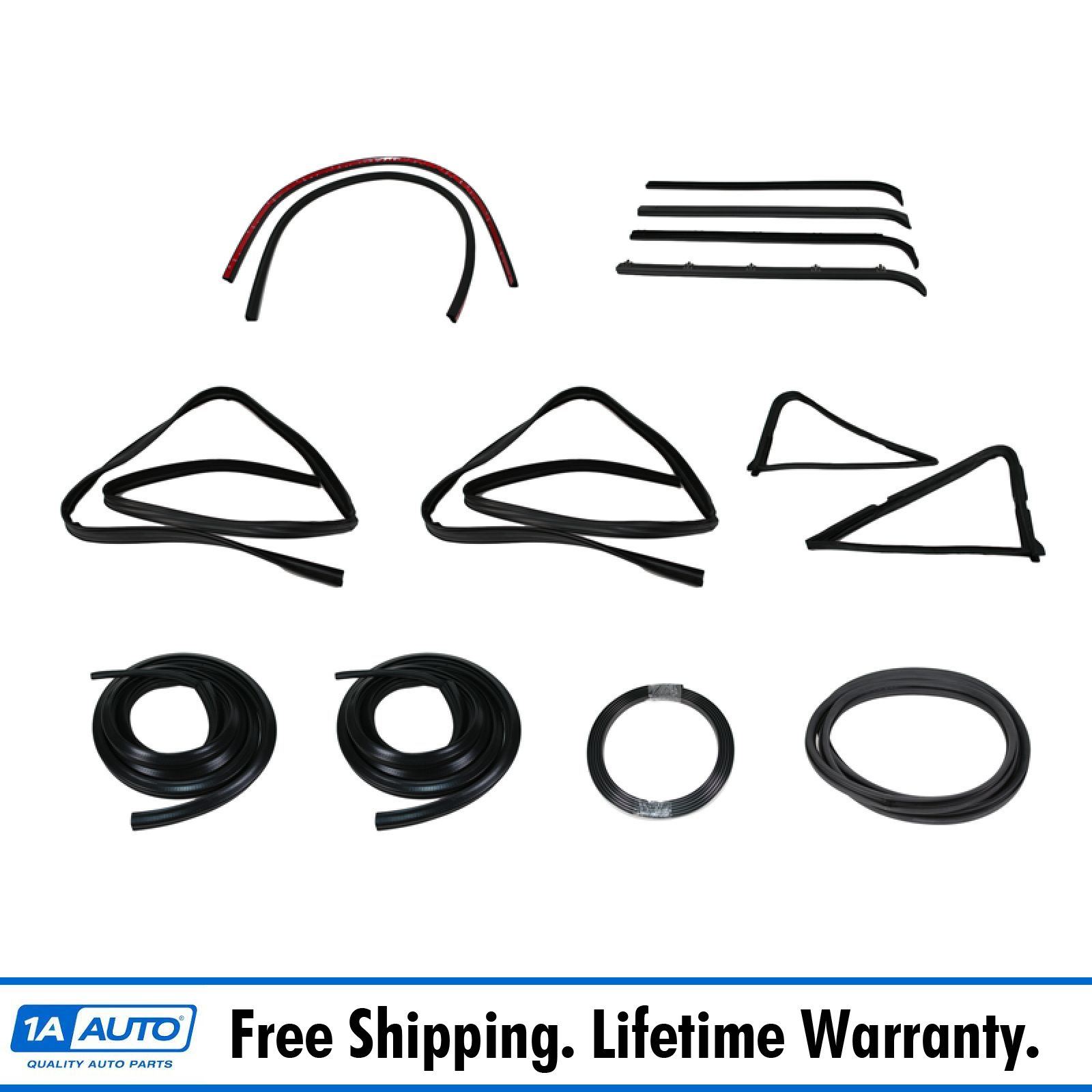 Left and Right 12pc for 84-96 Jeep Cherokee Door Seal Window Sweeps Channel Kit