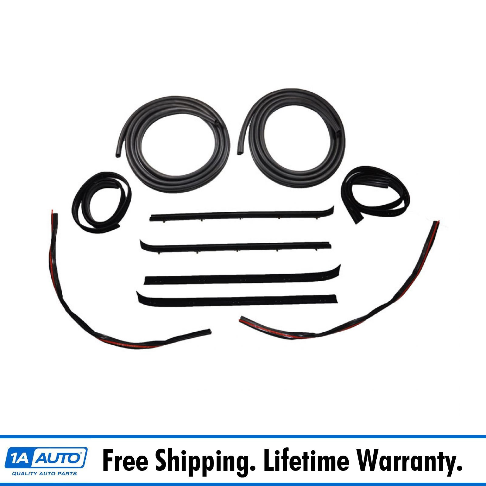 1A Auto Door /& Window Run Channel Sweep Felt Front Seal Kit for 80-86 Ford Pickup Truck